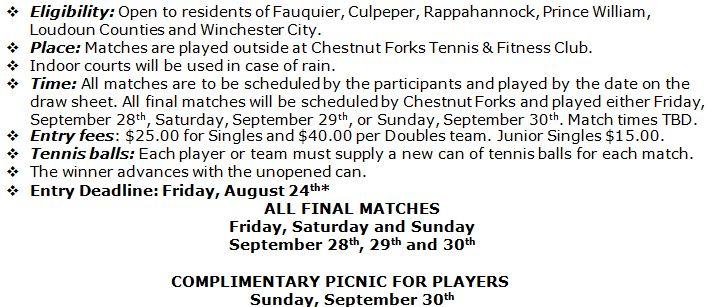 Walter Tufts Tennis Championship - Chestnut Forks Athletic Club